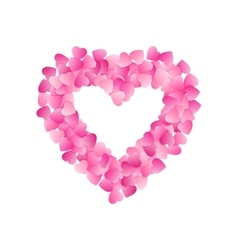 Heart Shape Frame Made Of Pink Hearts Valentines vector image