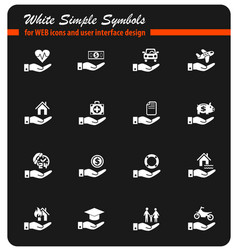 insurance hand icon set vector image