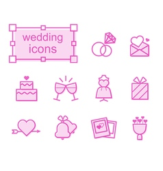 Thin line icons set wedding vector image