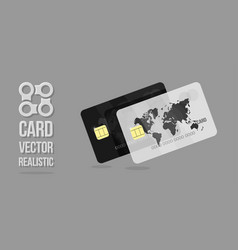 white and black credit cards template web banner vector image vector image