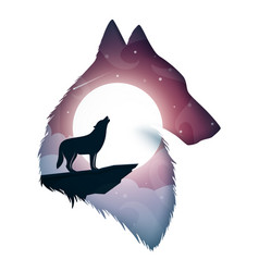 wolf cartoon paper landscape vector image