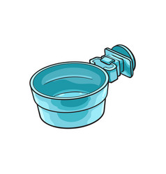 attachable plastic pet cat dog bowl for kennels vector image vector image