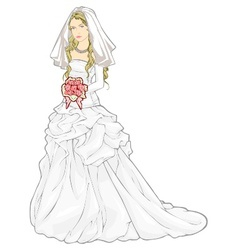 bride with a wedding bouquet vector image vector image