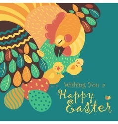 Easter chicken with easter eggs vector image vector image