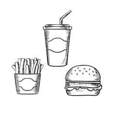 Hamburger french fries and soda cup vector image vector image