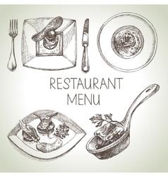 Hand drawn sketch restaurant food set European vector image