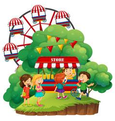 happy children having popsicles vector image vector image