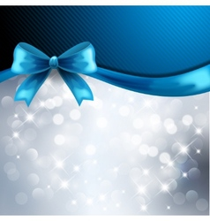 Holiday gift cards with blue ribbon vector image