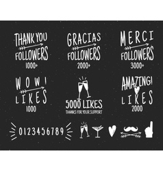 Set of vintage Thank you badges Social media vector image vector image