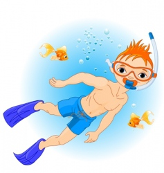 boy swimming vector image vector image
