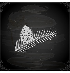 Hand drawn pine leaf with acorn vector
