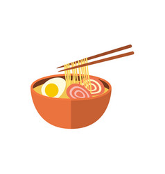 japanese ramen soup and chopsticks flat icon vector image vector image