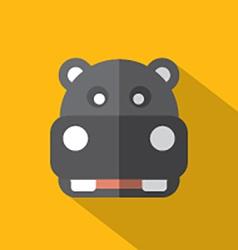 Modern Flat Design Hippopotamus Icon vector image