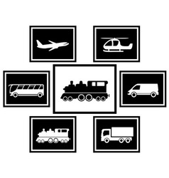 set cargo and freight transport icons vector image vector image