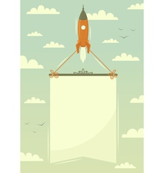 Space rocket with banner vector image vector image