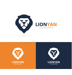 Unique animal and lion logotype design template vector