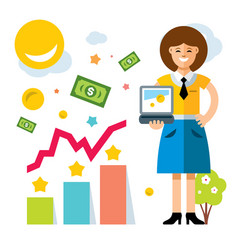 business woman using laptop flat style vector image