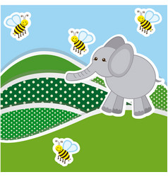 Color mountains with bees and elephant icon vector