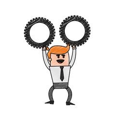 Color pencil cartoon business man holding a gears vector