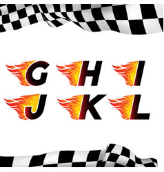 fire and high speed font vector image vector image