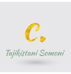 Golden Symbol of the Tajikistan Somoni vector image vector image