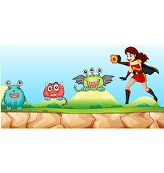 Superhero fighting monsters in the park vector image