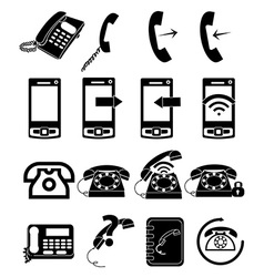 Telephone icons set vector image