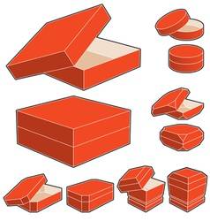 3d box with opened and closed lids vector