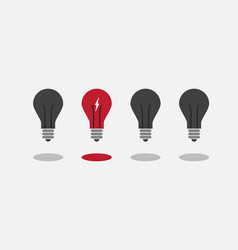 abstract flat design lightbulbs eureka concept vector image