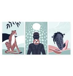 African boho summer card for wall art decor vector