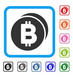 bitcoin coins framed icon vector image