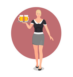 blonde with blue eyes working as a waitress vector image