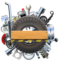 Board with truck wheel and spares vector