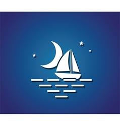 boat night sea vector image