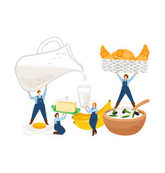 breakfast tiny farmers characters vector image