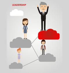 Businessman climbing clouds vector