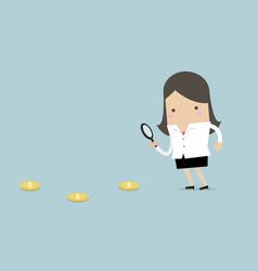 businesswoman follow dollar coins vector image