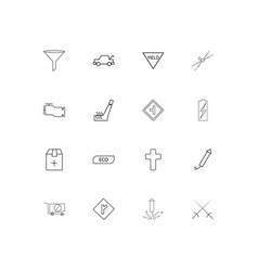 cars and transportation linear thin icons set vector image