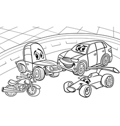Cars vehicles cartoon coloring page vector