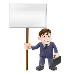 cartoon business man and sign vector image