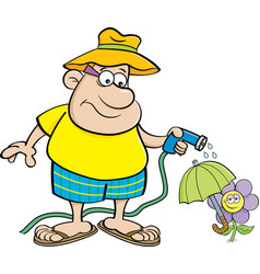cartoon man watering a flower with a garden hose vector image