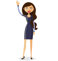 Cheerful young businesswoman waving her hand vector