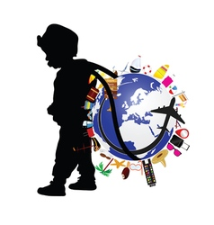 child holding planet earth and travel icon vector image