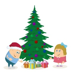 Children and Christmas fir tree vector