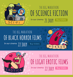 Cinema genres banners vector