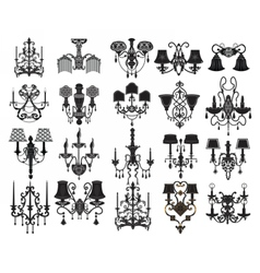 Classic wall lamps set vector