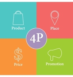 Colorful 4P marketing scheme vector