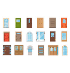 colorful front doors collection of vintage vector image