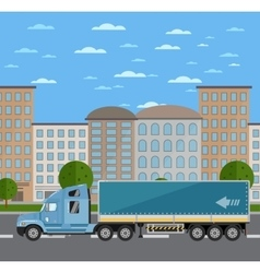 Commercial freight truck on road in city vector image