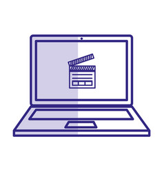 Computer laptop with clapper icon vector